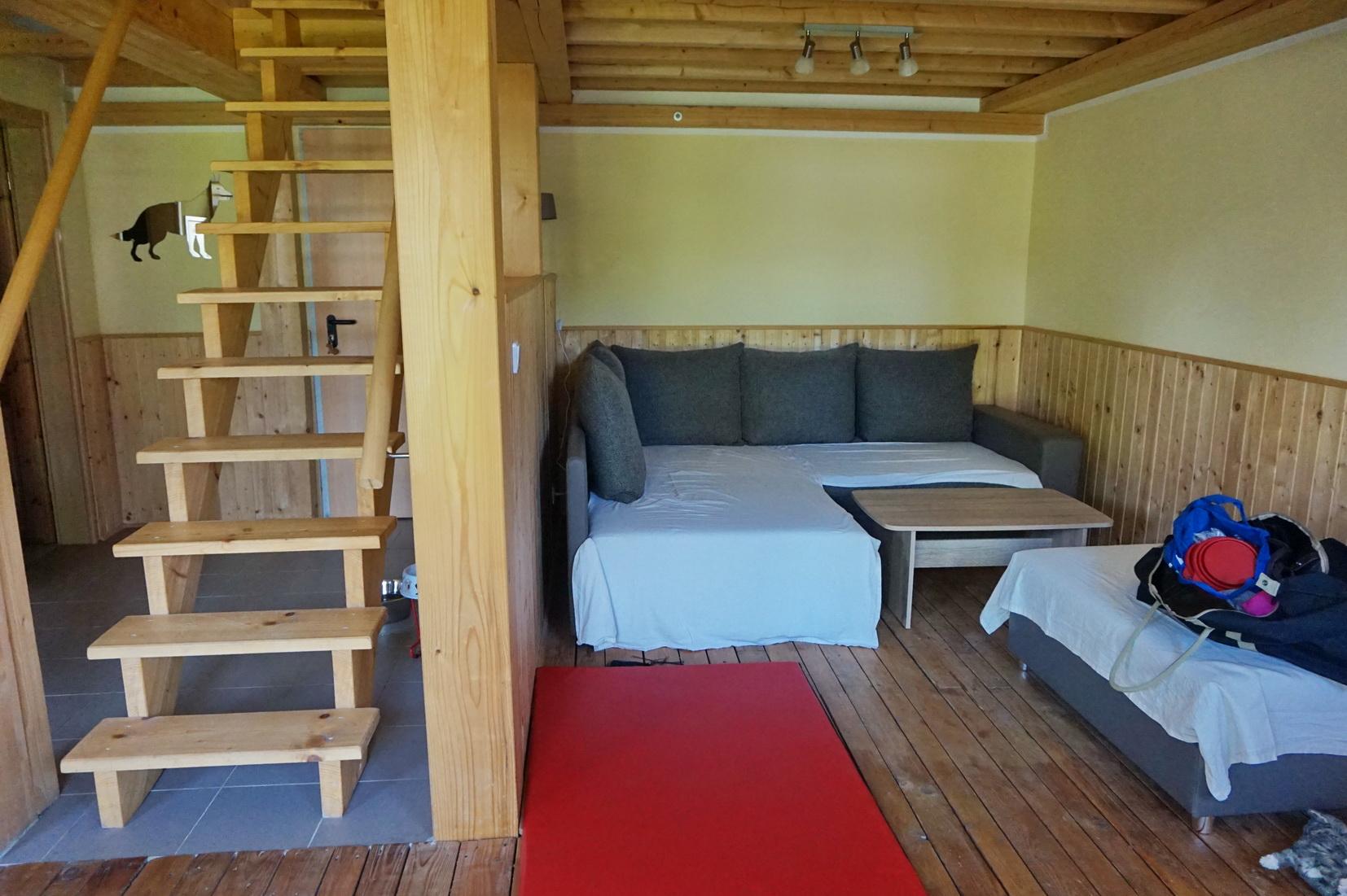 ... gemütliche Sofaecke (dank der Bettlaken durften Suri und Dayo auch auf das Sofa) ...