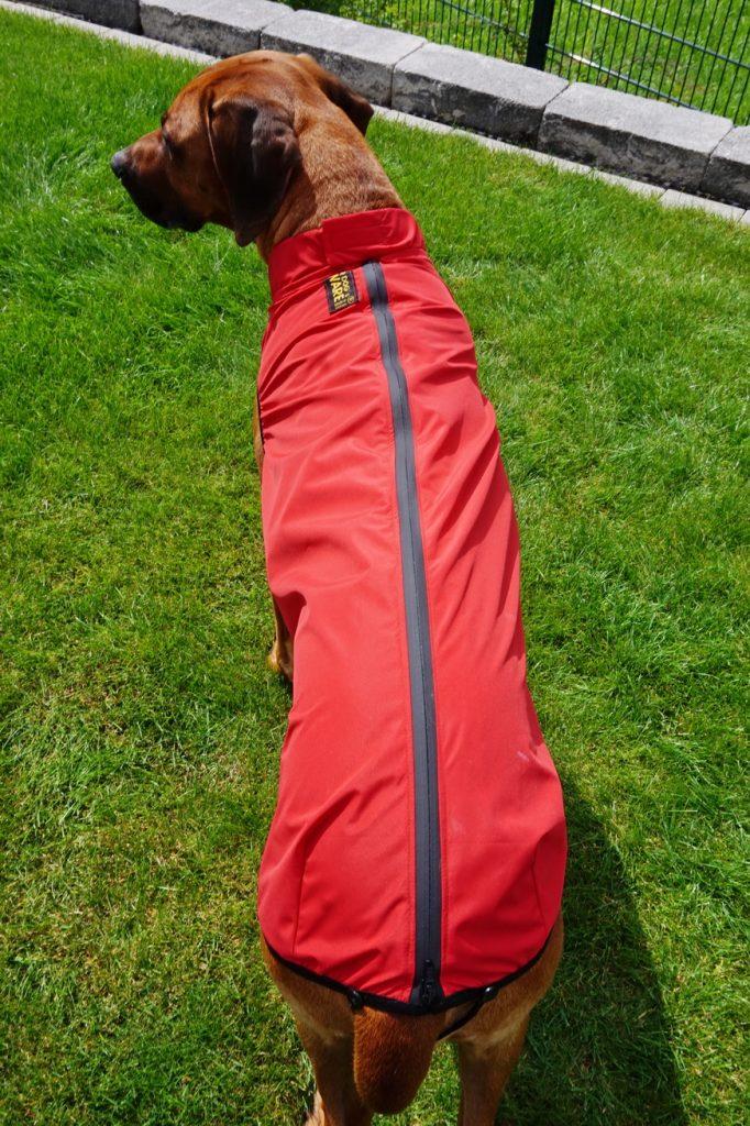 Das Markenzeichen von RR Dog's Ware - die durchgehende Reißverschluss auf dem Rücken