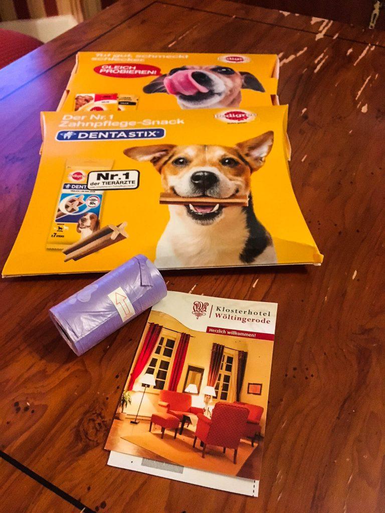 Hundefreundlicher Willkommensgruß auf dem Zimmer