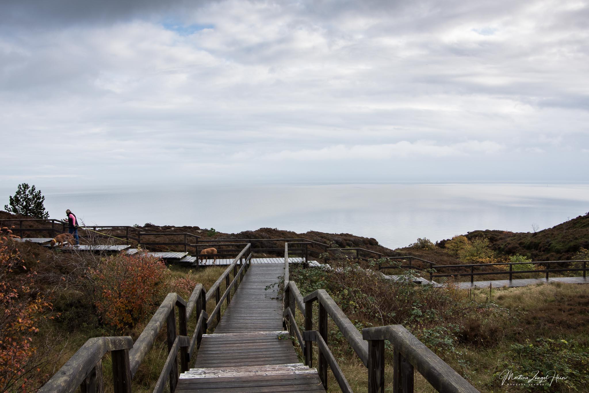 Von Braderup aus startet der Wanderweg auf Holztreppen