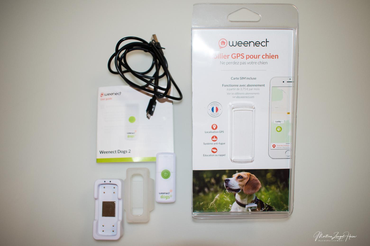 Der Weenect-Tracker kommt mit einer Silikon-Halterung, Aufladestation und Kabel sowie einer Gebrauchsanweisung