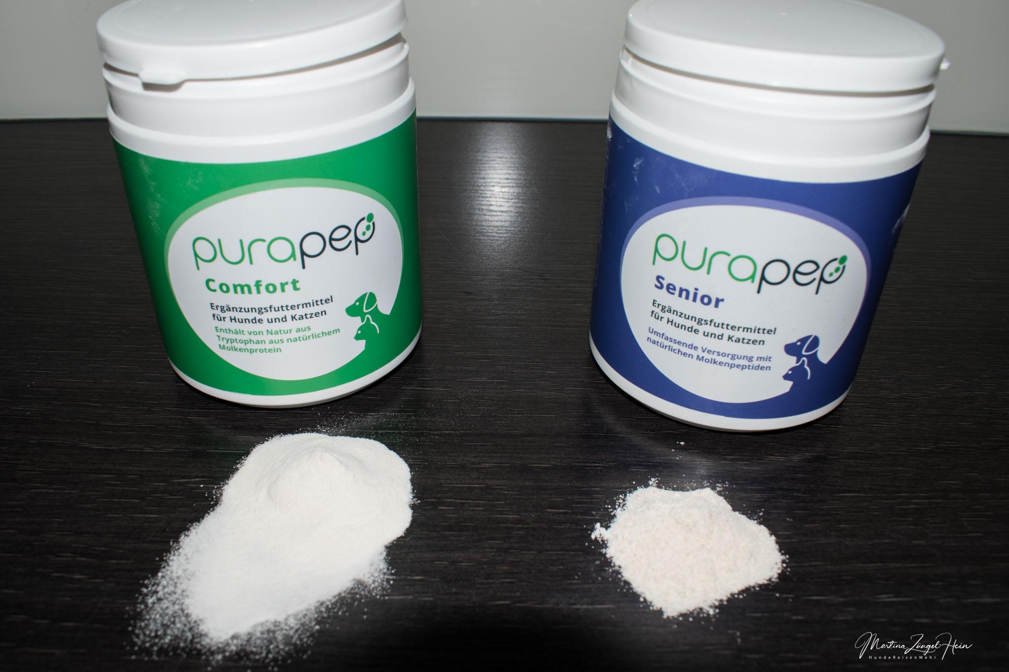 Während purapep Comfort in der Konsistenz sehr pudrig ist, ist purapep Senior etwas körniger
